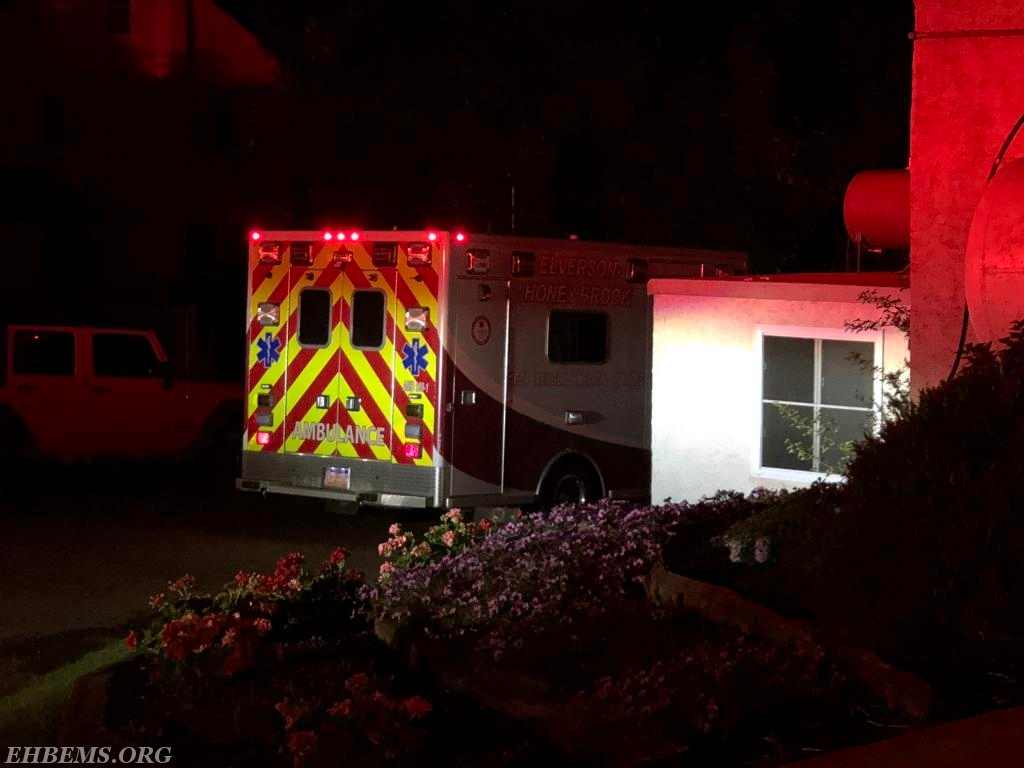 Ambulance 189-1 staging in front of the barn.