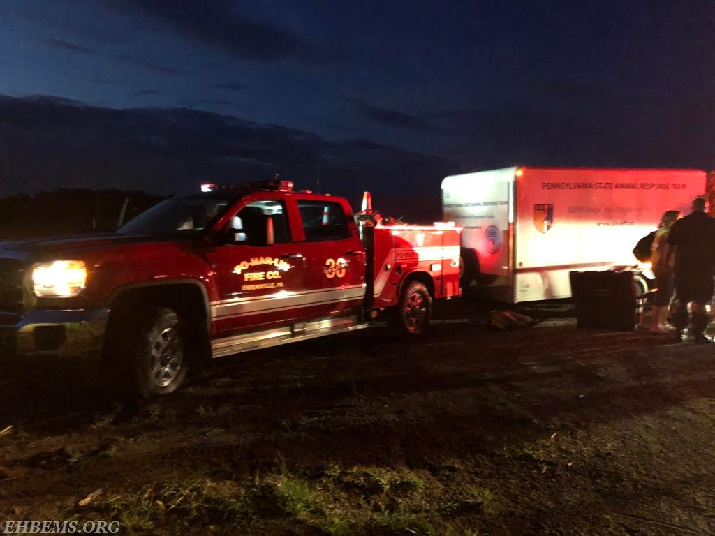 Utility 36 pulled the animal rescue trailer to the scene