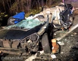 The vehicle after the trapped driver was removed.