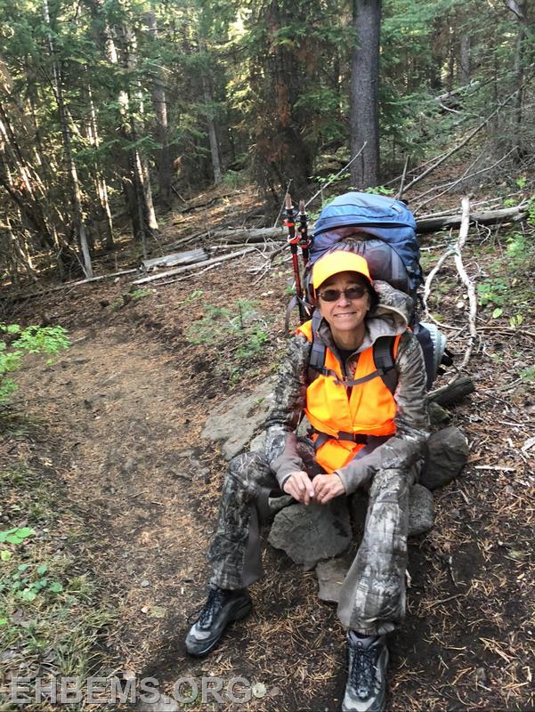In the mountains of Colorado during a hunting trip with her son.