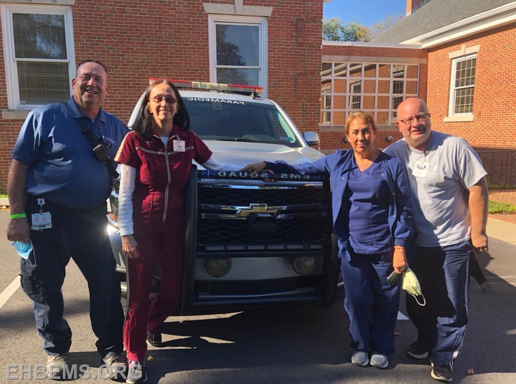 Craig, Cathie, Hazel and Leo outside Medic 93.